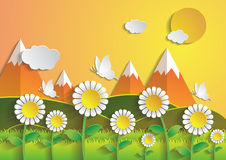 Sunflower field with summer season.paper art style. Vector Royalty Free Stock Photography