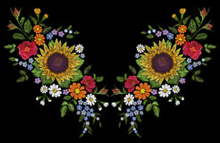 Sunflower field wild floral embroidery arrangement neckline decoration. Fashion textile floral clothing print.Colourful Stock Image
