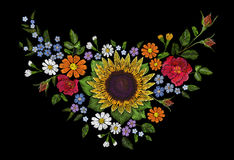 Sunflower field wild floral embroidery arrangement neckline decoration. Fashion textile floral clothing print.Colourful Royalty Free Stock Image