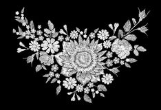 Sunflower field wild floral white embroidery arrangement neckline decoration. Fashion textile floral clothing print Stock Photography