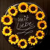 Sunflower frame with Mit Liebe text Stock Image