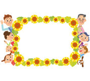 Sunflower frame and three-generation family. Close three-generation family and frame of the sunflower vector illustration