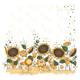 Sunflower garden - Halloween or thanksgiving card Royalty Free Stock Image