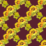 Sunflower garland seamless pattern on dark background. Yellow orange sunflower and bow seamless pattern background Royalty Free Stock Images