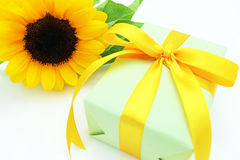 Sunflower and gift Royalty Free Stock Images