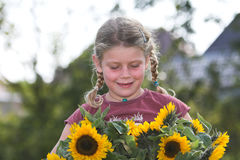 Sunflower girl Royalty Free Stock Photography