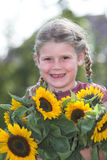 Sunflower girl Stock Photo