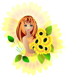 Sunflower girl Stock Photo