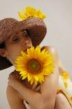 Sunflower girl Stock Photography