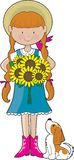 Sunflower Girl Stock Photos