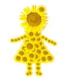 Sunflower girl isolated on white Royalty Free Stock Images