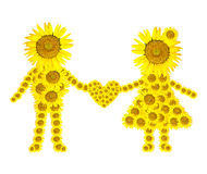 Sunflower girl and man isolated