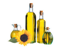 Sunflower and glass bottle oil Stock Photos