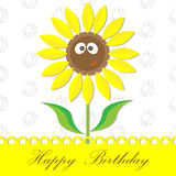 Sunflower happy birthday card Royalty Free Stock Images