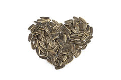 Sunflower heart shape seeds with white background Stock Images