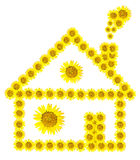 Sunflower home image isolate on white background