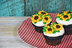 Sunflower icing on chocolate cupcakes. Chocolate cupcakes with sunflower frosting on red and white gingham plate Royalty Free Stock Photography
