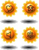 Sunflower icon. Vector illustration for a set of computer icon in 3d sunflower shape Stock Image