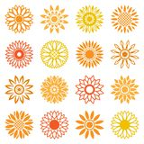 Sunflower icons for logo and labels stock illustration