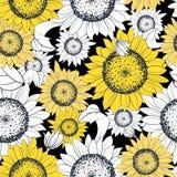 Sunflower illustration. Seamless pattern, drawn vector illustration Royalty Free Stock Photography