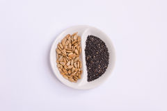 Sunflower kernel and black sesame seed. Close up look of sunflower kernel and black sesame seed in a white small devided dish Royalty Free Stock Photography