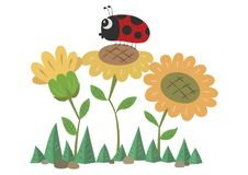 Sunflowers and a Ladybird royalty free illustration