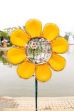 Sunflower lamp. Sunflower has made ​​lamp for garden decoration Stock Images