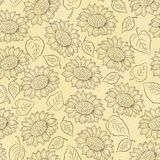 Sunflower with leaves vector seamless pattern stock illustration