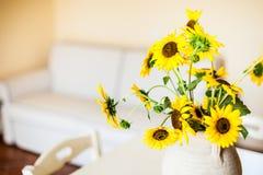 Sunflower in living room Stock Photo