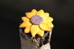 Sunflower. Made by hand from polymer clay Stock Photo