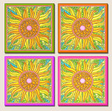 Sunflower multi-mosaic-light. Sunflower mosaic design w/light background on colored tiles stock photos