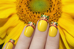 Sunflower nail design. Stock Photo