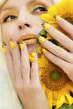 Sunflower nail design. Royalty Free Stock Photography