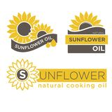 Sunflower natural oil product vector label templates Royalty Free Stock Photos