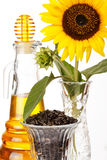 Sunflower oil. On the white Stock Photography