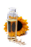 Sunflower oil. Oil of a sunflower in a bottle Royalty Free Stock Photo