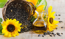 Sunflower oil. And sunflower seeds Royalty Free Stock Image