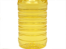 Sunflower oil. Plastic bottle with sunflower oil isolated over white Stock Photography