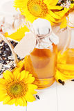 Sunflower oil in a bottle Royalty Free Stock Image