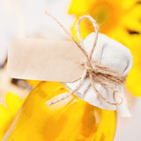 Sunflower oil in a bottle Stock Images