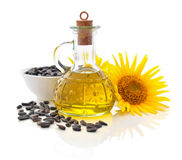 Sunflower oil in bottle Royalty Free Stock Photography