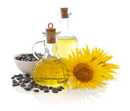 Sunflower oil in bottles Stock Photo