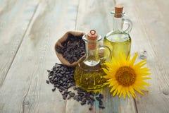 Sunflower oil in bottles Stock Photo