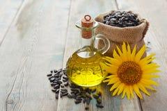 Sunflower oil in bottles Royalty Free Stock Image