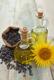 Sunflower oil in bottles Stock Images