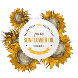 Sunflower oil emblem. Oil emblem over bright hand drawn sunflowers Stock Photo