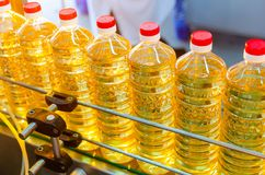 Sunflower oil. Factory line of production and filling of refined oil from sunflower seeds. Factory conveyor of food industry.  Royalty Free Stock Photography