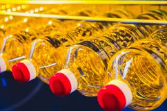Sunflower oil. Factory line of production and filling of refined oil from sunflower seeds. Factory conveyor of food industry.  Royalty Free Stock Image