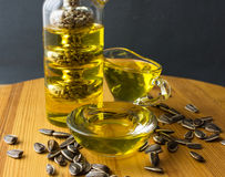 Sunflower oil. Glass bottle. Stock Images