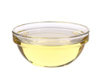 Sunflower oil in glass bowl. Stock Photo